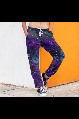 Unisex Galaxy Space Universe Stars Cosmos Planets Fleece Printed Sweatpants Jogging Bottom