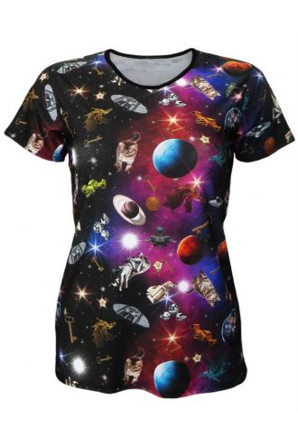 Travelling Through Space Galaxy Space Ship Planets Print Crew Neck T-Shirt Top
