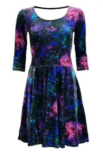 Galaxy Space Universe Stars Cosmos Planets Printed Velvet Velour Dress