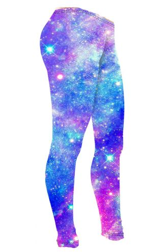 Girls Cute Multi Blue Galaxy Space Stars Printed Leggings