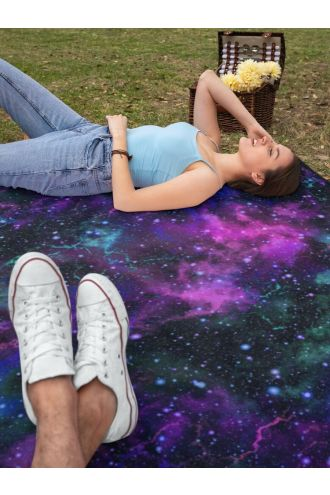 Galaxy Space Universe Stars Cosmos Planets Digital Print Check Flames Throw Blanket