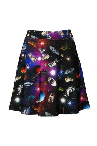 Travelling Through Space Galaxy Space Ship Planets Print Skater Flare Skirt