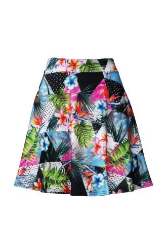 Tropical Floral Palm Leaves Triangle Geometric Polka Dot Marble Print Skater Flare Skirt