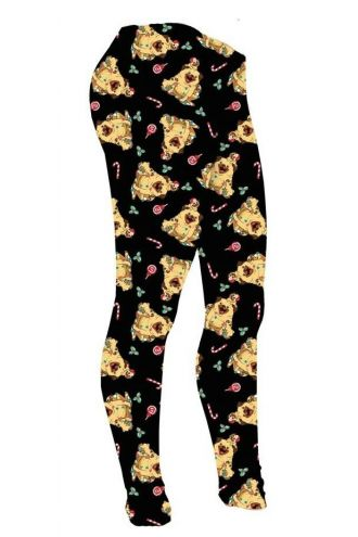 Girls Cute Santa Christmas Candy Cane Pug Puppies Printed Leggings