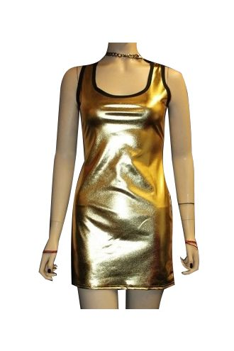 Gold Metallic Wetlook Shiny Long Vest Top