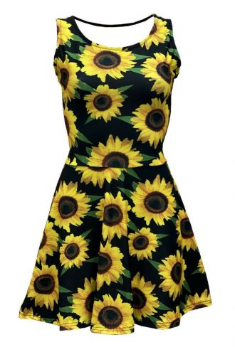 Gorgeous Sunflower Sunset Floral All Over Printed Fit & Flared Sleeveless Skater Dress