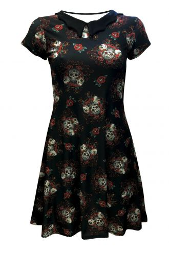 Gothic Sugar Skulls Floral Roses Print Bats Collar Dress