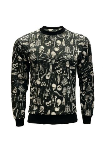 Gothic Skeletons Anatomy Ribcage Heart Printed Crew Neck Sweatshirt Jumper
