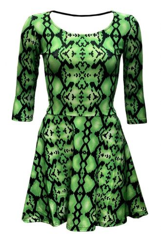 Green Snake Skin Reptile Printed 3/4 Sleeve Skater Dress