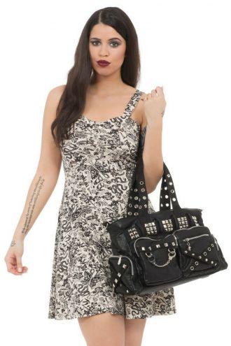 Black Studs Eyelets Handcuffs Chain Grunge Shoulder Hand Bag