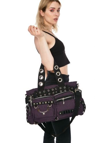 Striped Gothic Eyelets Handcuffs Chain Shoulder Hand Bag