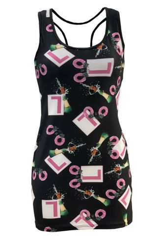 Hen Night Party Celebration Handcuffs Printed Bodycon Long Vest Top