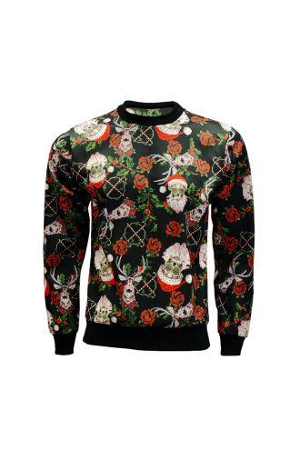 Unisex Mexican Sugar Skull Santa Christmas Printed Crew Neck Sweatshirt Jumper