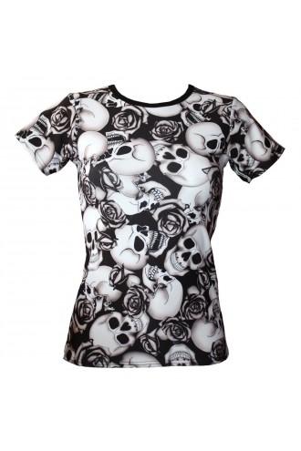 Black & White Skull Roses Shaded Tattoo Print T-Shirt Top