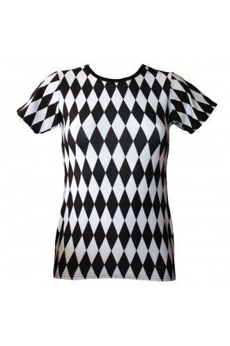 Black And White Harlequin Diamonds Print T-Shirt Top