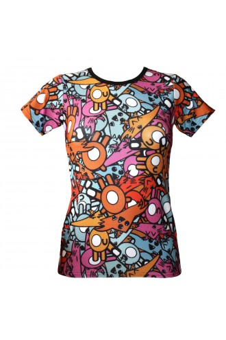 Colourful Fox Cheeky Animal Cartoonish Comic Print T-Shirt Top