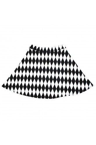 Black And White Harlequin Diamonds Print Skater Skirt