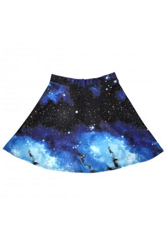 Blue Galaxy Planets Cosmos & Space Print Skater Skirt