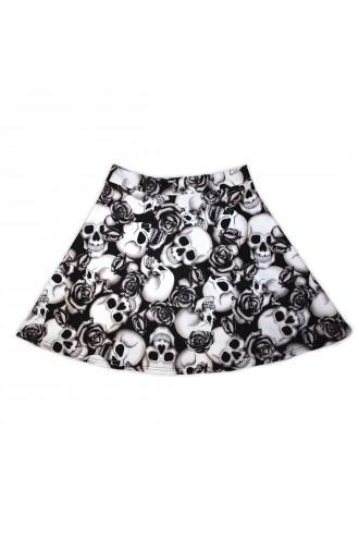 Black & White Skull Roses Shaded Tattoo Print Skater Skirt