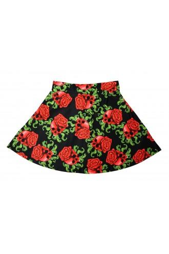 Enchanting Skulls Red Roses Gothic Print Skater Skirt