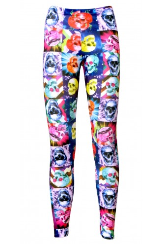 Colourful Psychedelic Square Skulls Floral Print Leggings