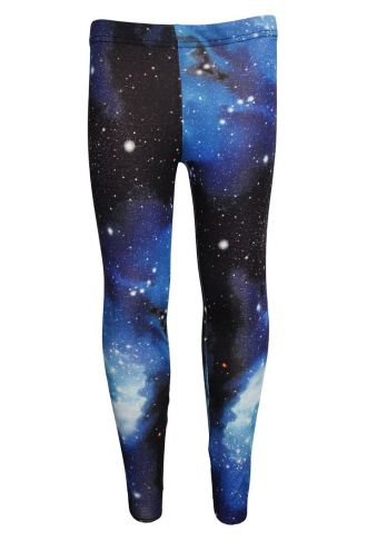 Awesome Blue Galaxy Space Universe Print Girls Leggings