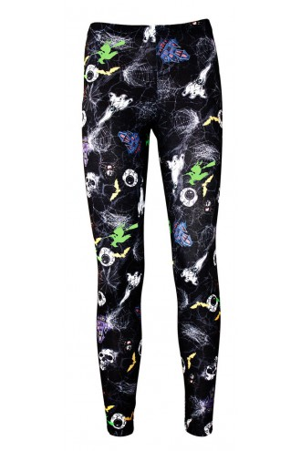 Girl's Children's Spooky Halloween Skulls Ghosts Eyeballs Spiders Print Girls Leggings