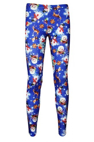 Christmas X-Mas Presents Snowmen Nutcrackers Print Girls Leggings