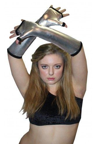 Silver Metallic Shiny PVC Wetlook Gloves Rave Cyber