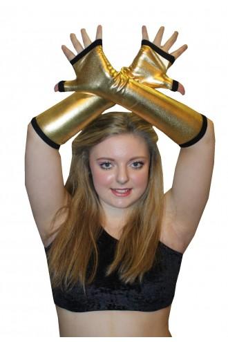 Gold Metallic Shiny PVC Wetlook Gloves Rave Cyber