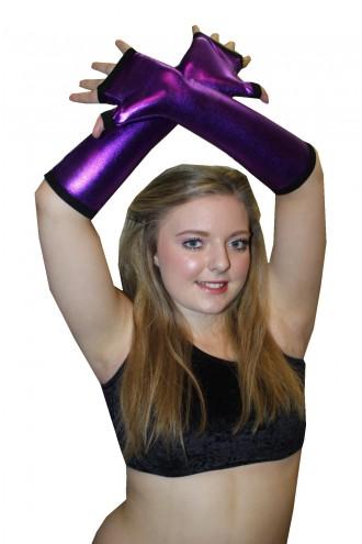 Purple Metallic Shiny PVC Wetlook Gloves Rave Cyber