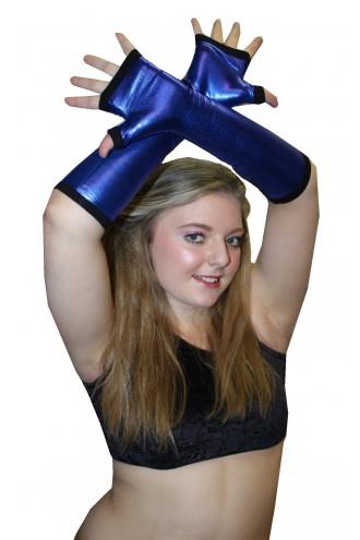 Blue Metallic Shiny PVC Wetlook Gloves Rave Cyber