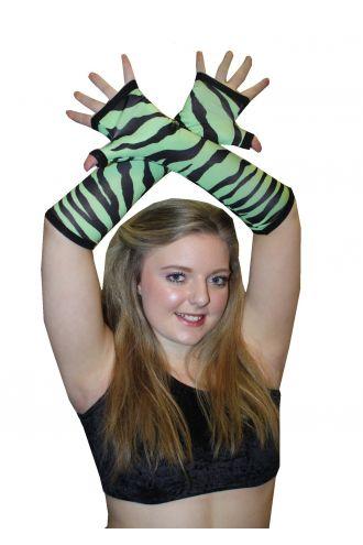 Green And Black Zebra Animal Gloves
