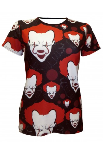 Scary Killer Clown Joker Evil Horror Print Halloween Crew neck T-Shirt Top