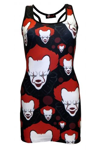 Scary Killer Clown Joker Evil Horror Halloween Print Long Vest Top
