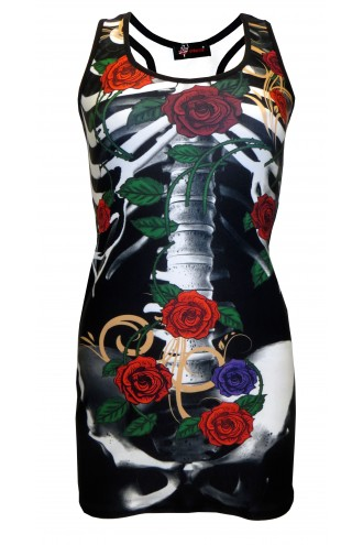Floral Roses Skeleton Bones Ribcage Block Print Long Top Dress