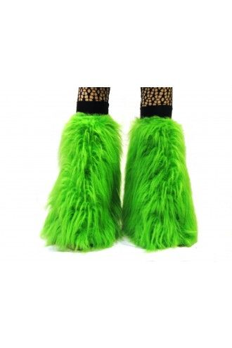 Neon-UV Green Fluffy Legwarmers - Boot Covers.