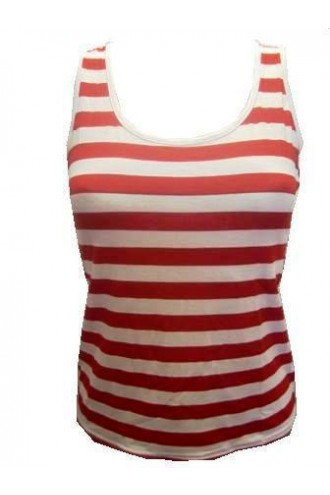 Red And White Stripes Striped Vest Top Fancy Dress Costume