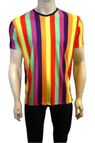 Funky Multicoloured Rainbow Vertical Stripes Printed V-Neck T-Shirt