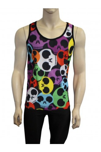 Men's Unique Multi Rainbow Skull Rock N Roll Print Vest Top