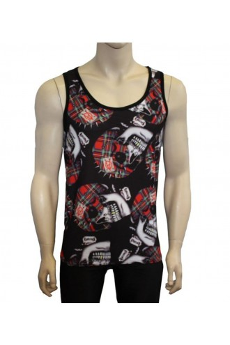 Men's Unique Gothic Red Tartan Spikey Skulls Anarchy Print Vest Top