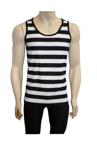 Men's Unique Gothic Black And White Stripes Print Vest Top