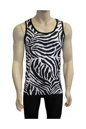 Men's Unique Original Black And White Zebra Animal Print Vest Top