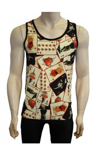 Men's Gothic Unique Vintage Playing Cards Heart Tattoo Print Vest Top
