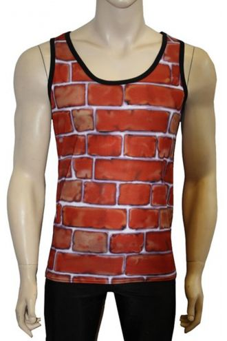 Men's Unique Brick Wall Print Vest Top