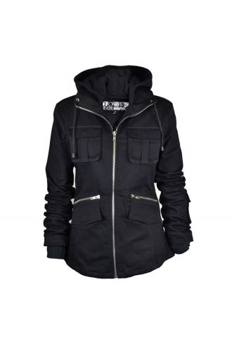 Unique Ladies Gothic Black Bella Zip Up Hooded Jacket