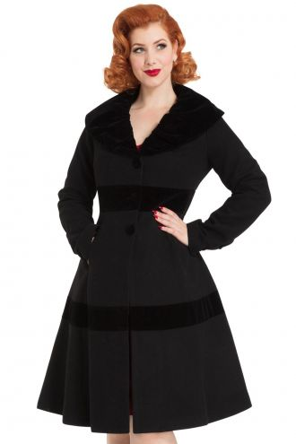Voodoo Vixen Black Thora Velvet Trim Vintage Retro Rockabilly 1950's Jacket Coat