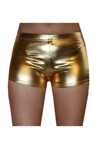 Gold Wetlook Metallic Hot Pants