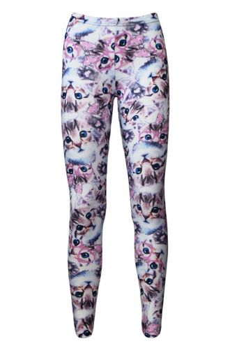 Girl's Children's Cute Kitty Cat With Paw Glasses Bow Alternative Printed Leggings