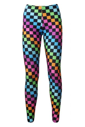 Girl's Children's Rainbow Coloured Check Squares Printed Leggings